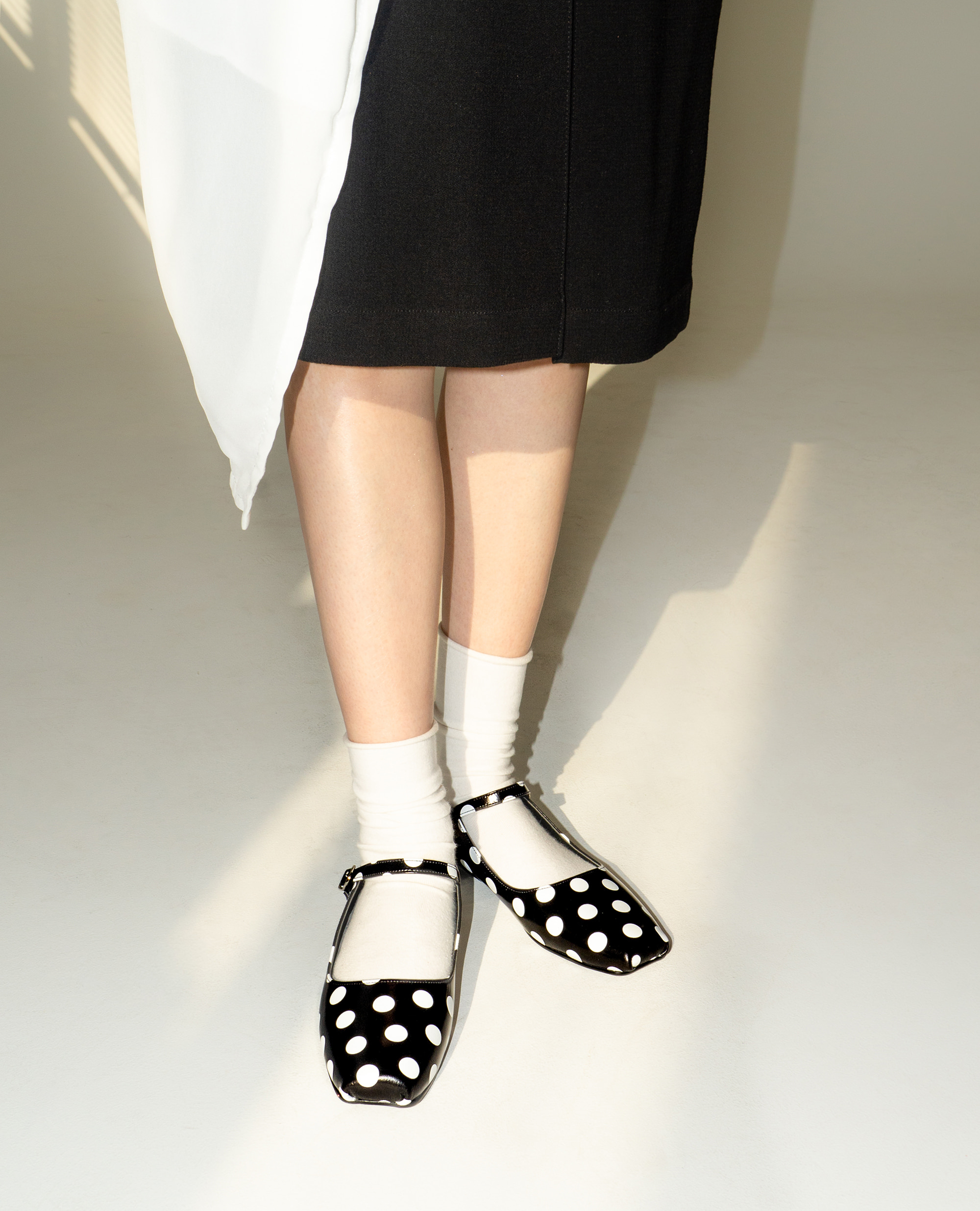 Ballet Toe Mary jane Flats | Polka dot