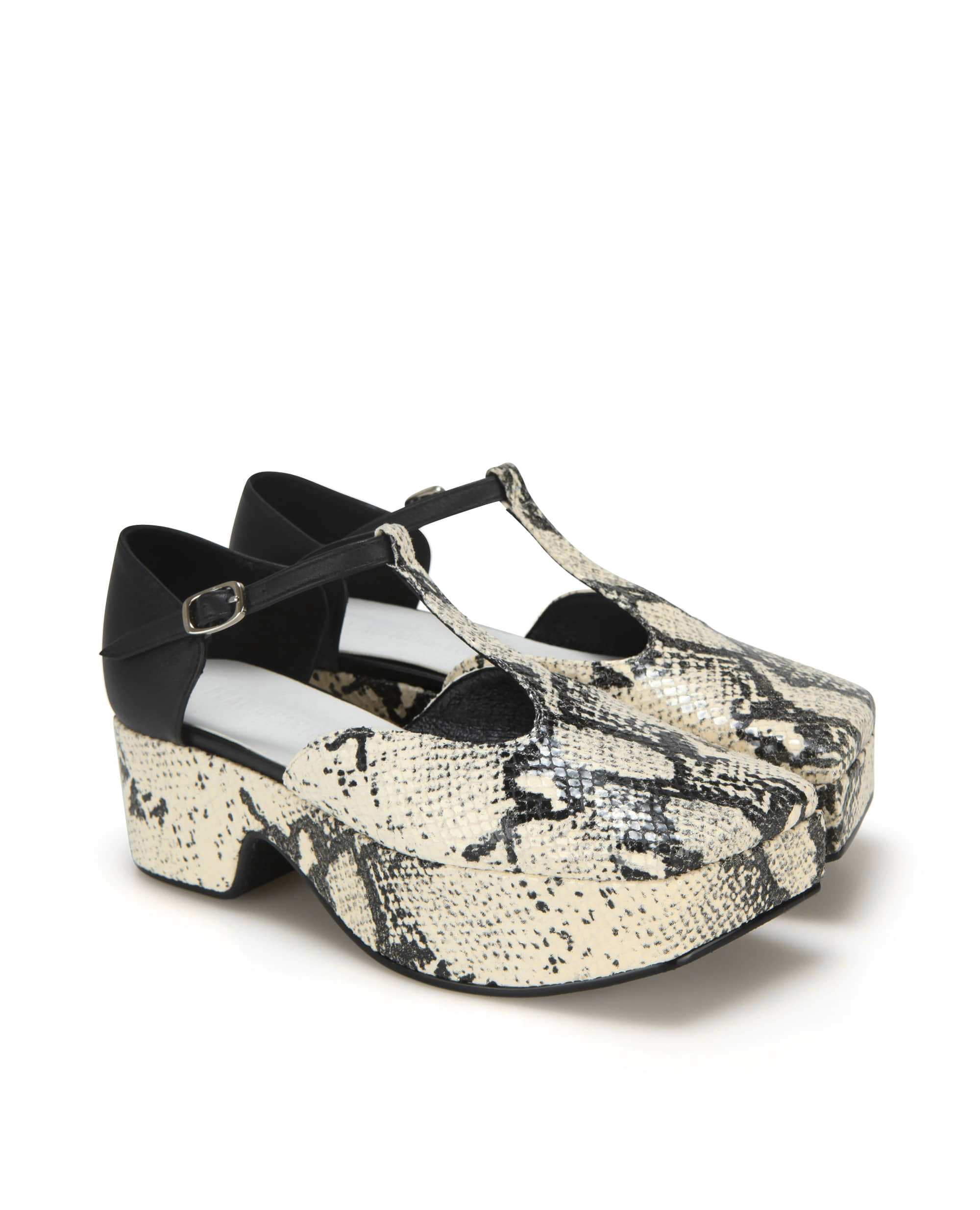 Squared toe T-strap mary jane platforms | Butter snake/Black