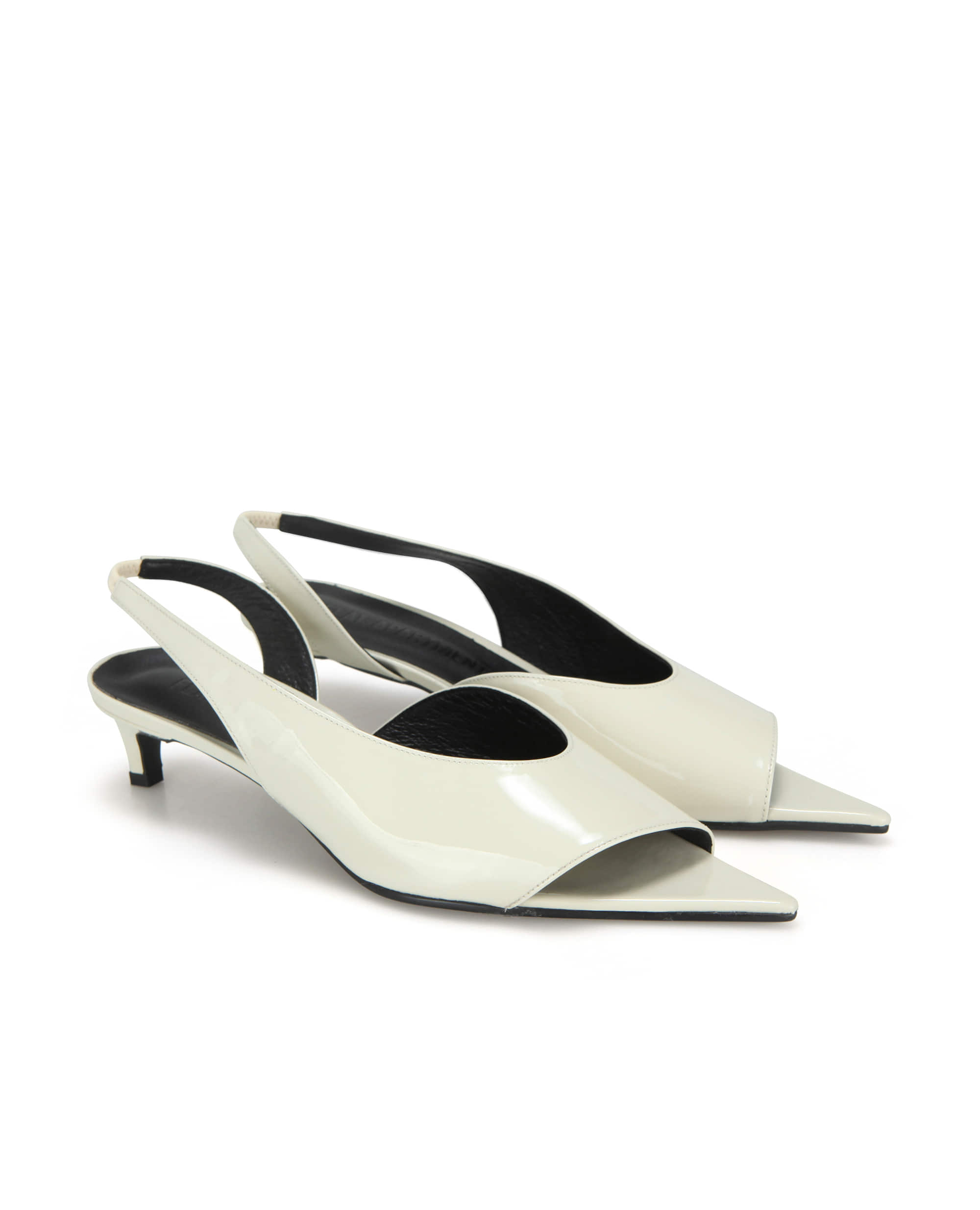 Extreme sharp toe diagonal lined slingbacks | Glossy butter