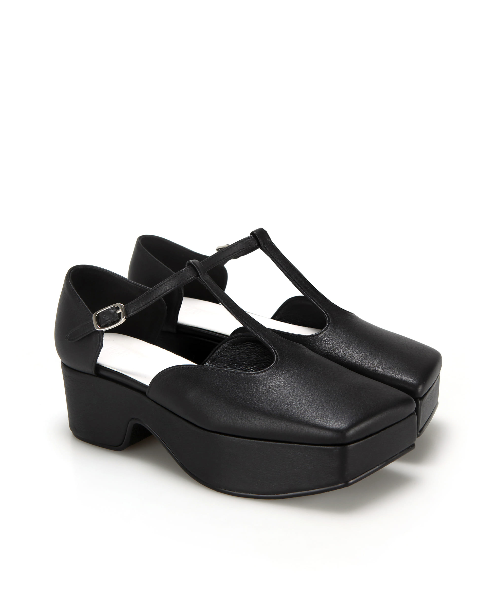 Squared toe T-strap mary jane platforms | Black