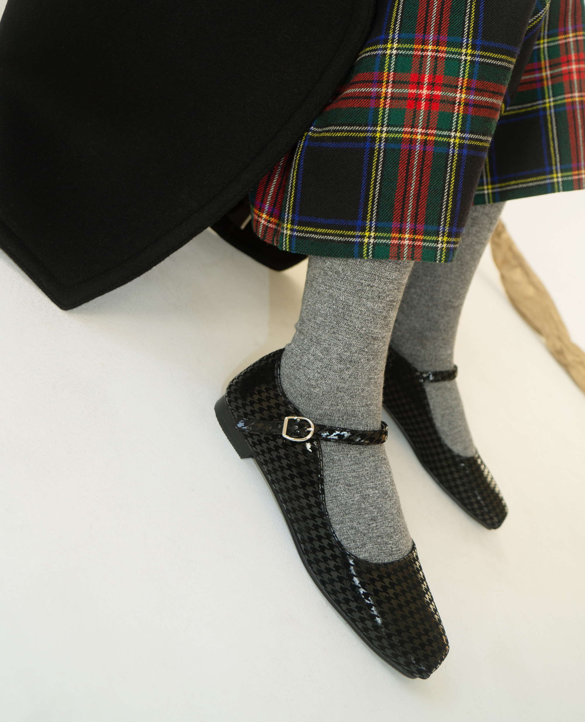 Ballet Toe Mary jane Flats | Black houndstooth