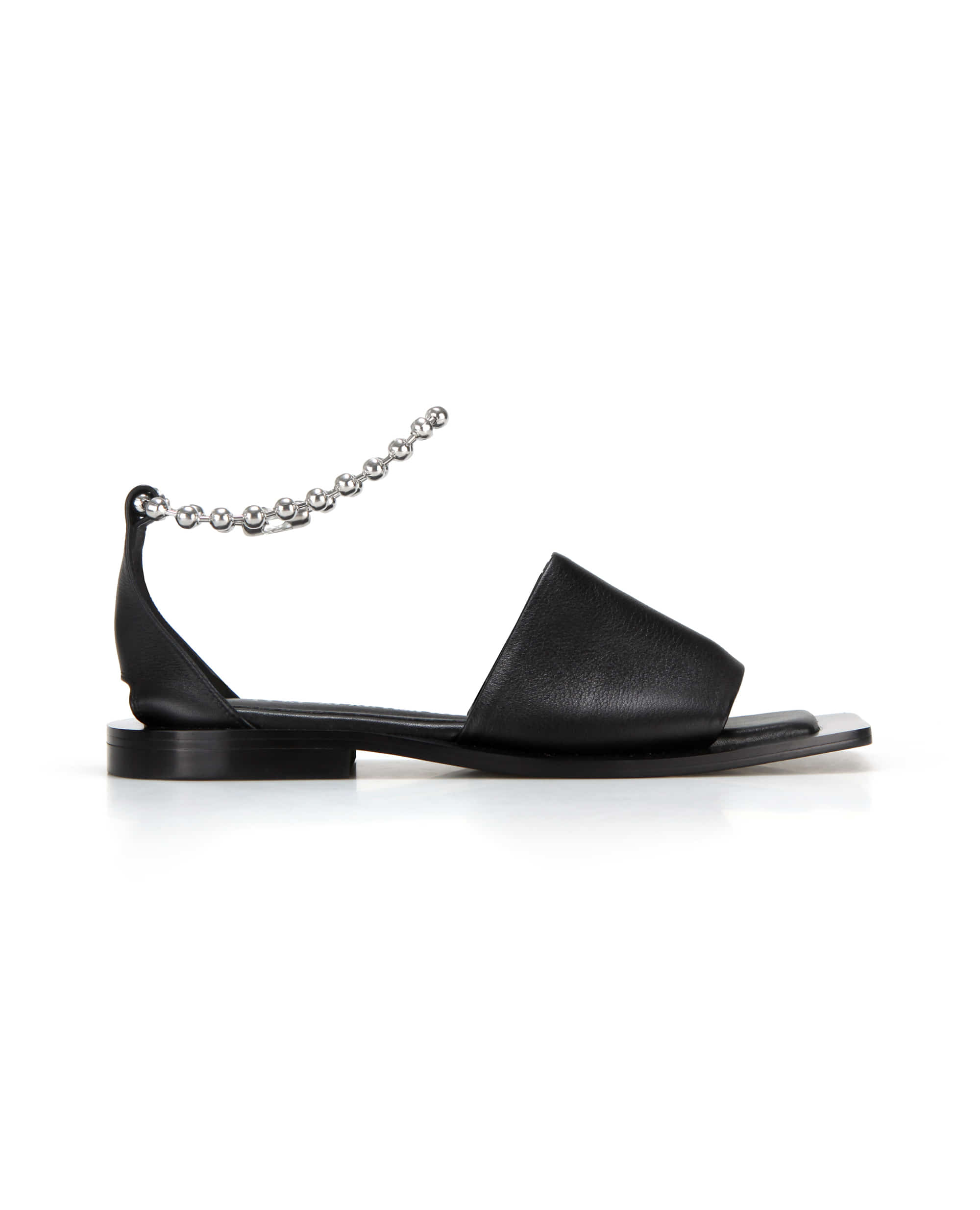 Wide square sole slide sandals | Black