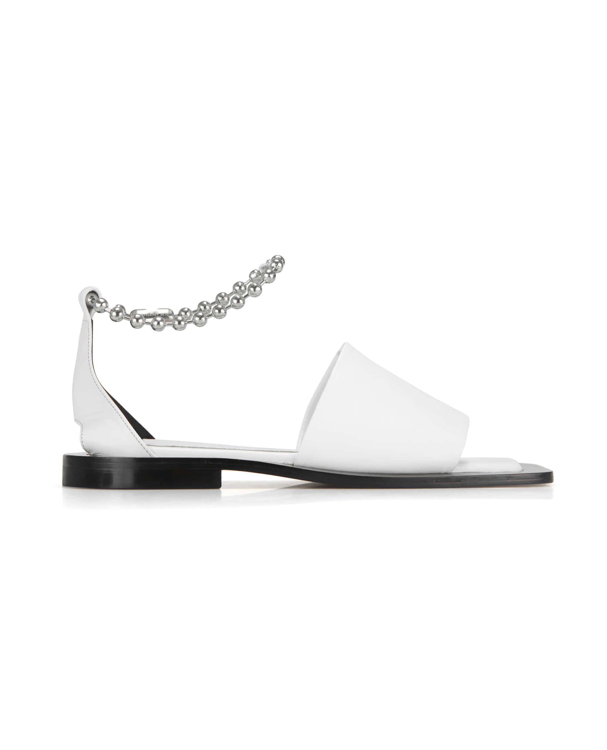 Wide square sole slide sandals | White