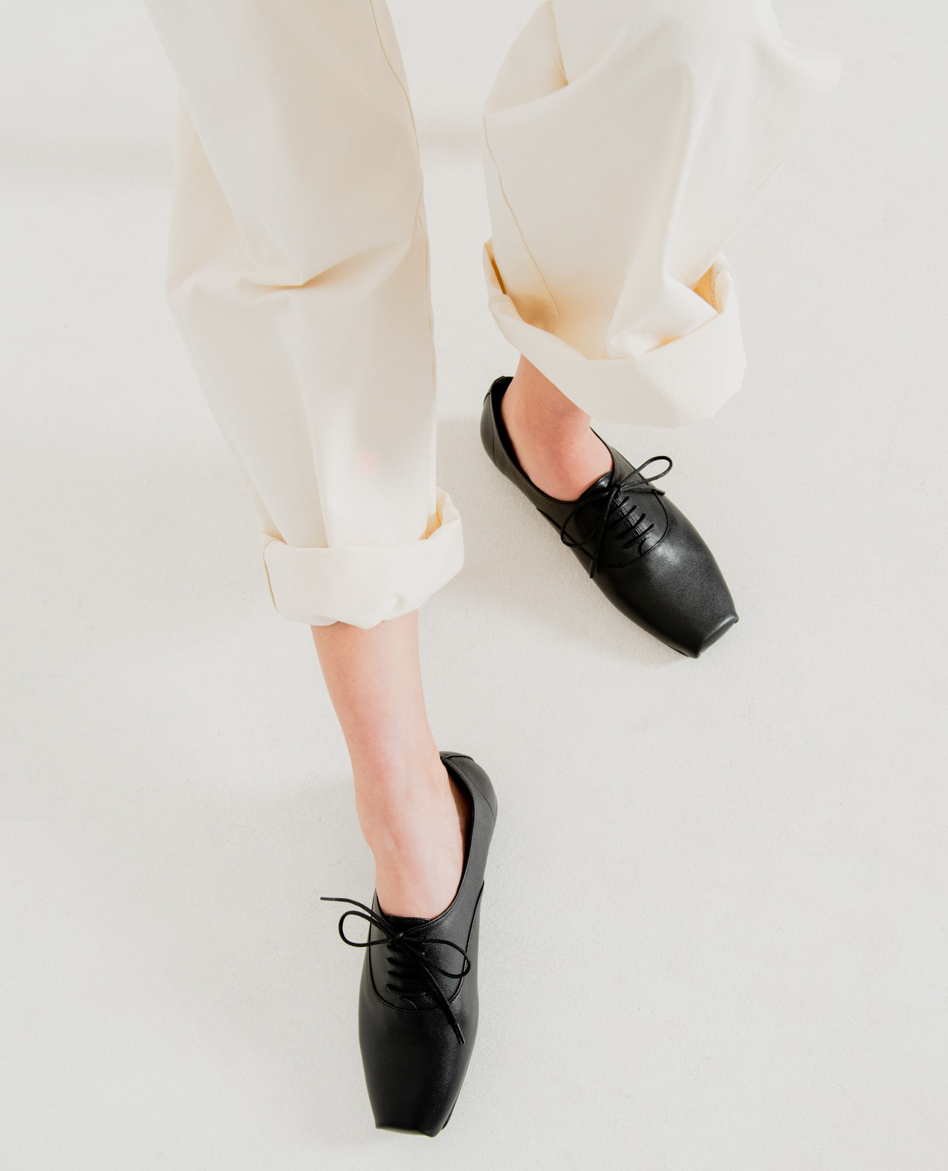 Ballet Toe Oxford Flats | Black