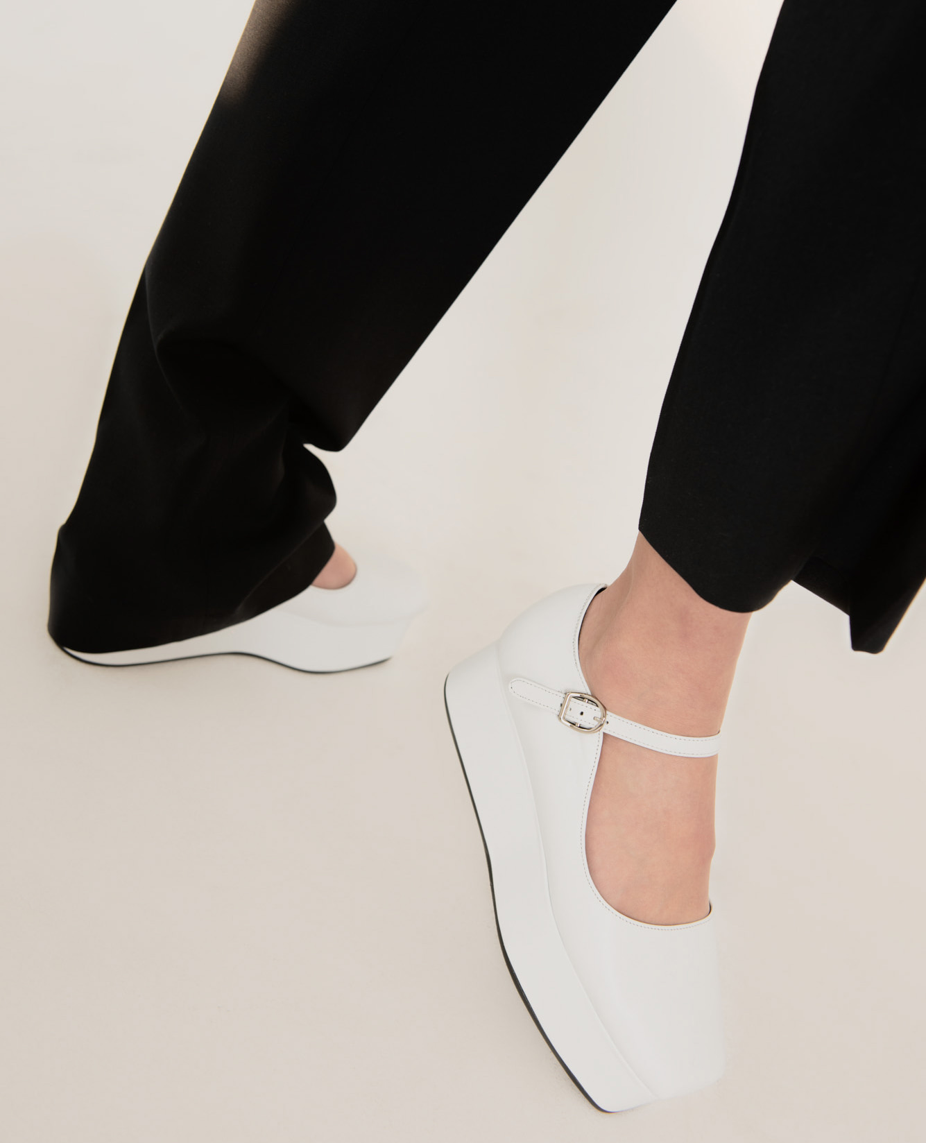 Ballet Toe Mary Jane Platforms | White